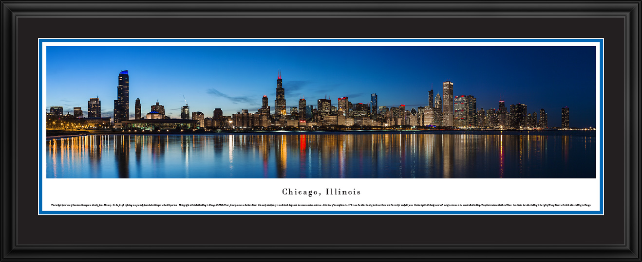 Chicago, IL City Skyline Panoramic Fine Art Decor